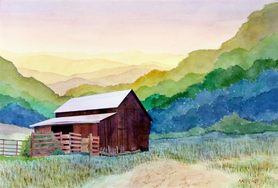 Original art for sale at UGallery.com | Receding Ridgelines by Bill Kreitlow | $825 | watercolor painting | 16.25' h x 25.25' w | ..\art\watercolor-painting-Receding-Ridgelines