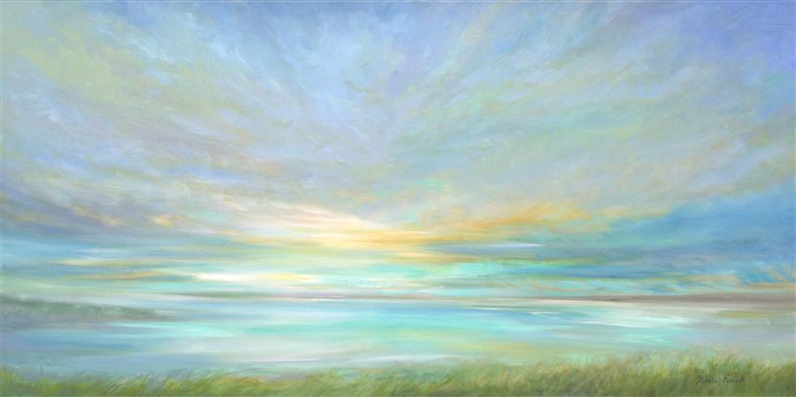 Original art for sale at UGallery.com | View from the Beach by SHEILA FINCH | $4,325 |  | 24' h x 48' w | ..\art\oil-painting-View-from-the-Beach