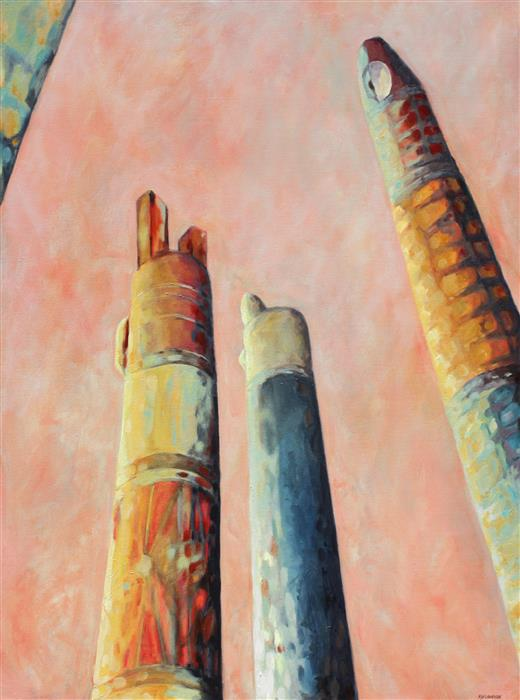 Original art for sale at UGallery.com | From Below - Totems by Marie-Eve Champagne | $1,225 | acrylic painting | 30' h x 40' w | ..\art\acrylic-painting-From-Below-Totems