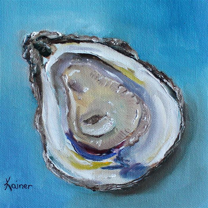 Original art for sale at UGallery.com | Juicy Oyster by KRISTINE KAINER | $325 | Oil painting | 6' h x 6' w | ..\art\oil-painting-Juicy-Oyster