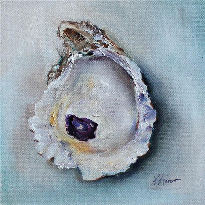 Original art for sale at UGallery.com | Washington Oyster Shell by Kristine Kainer | $325 | oil painting | 6' h x 6' w | ..\art\oil-painting-Washington-Oyster-Shell