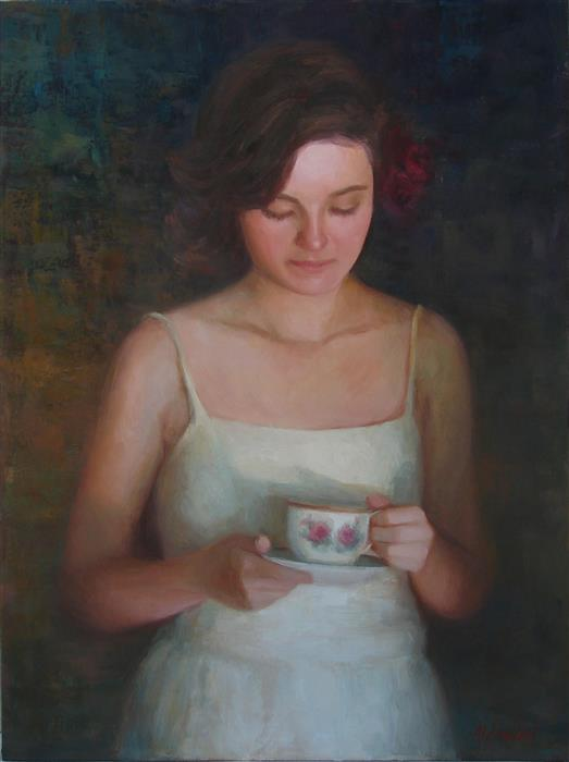 Original art for sale at UGallery.com | Tea and Roses by Sherri Aldawood | $1,900 | oil painting | 24' h x 18' w | ..\art\oil-painting-Tea-and-Roses