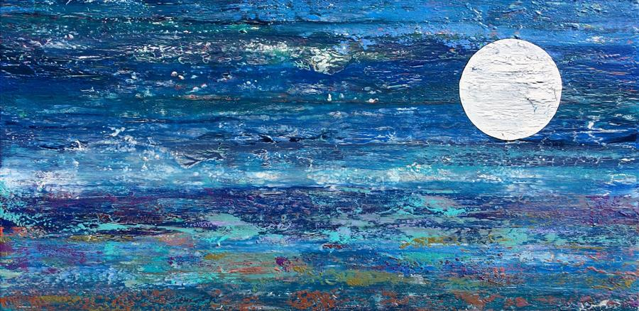 Original art for sale at UGallery.com | Moonlight Mile by ALICIA DUNN | $2,075 |  | 24' h x 48' w | ..\art\mixed-media-artwork-Moonlight-Mile