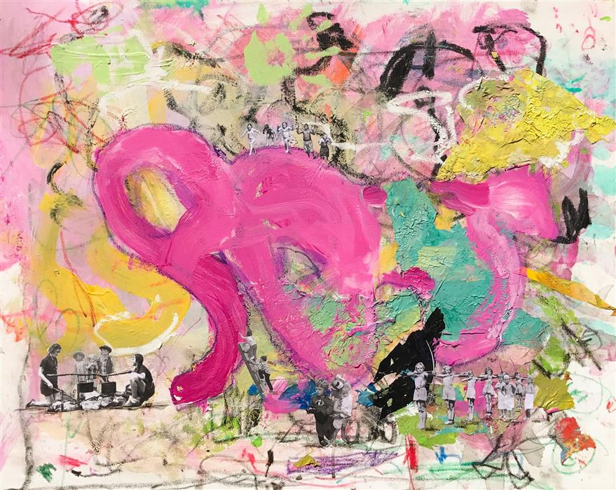 Original art for sale at UGallery.com | Childhood #20 (Pink Elephant) by ELLIOT COATNEY | $1,200 |  | 24' h x 30' w | ..\art\mixed-media-artwork-Childhood-20-Pink-Elephant