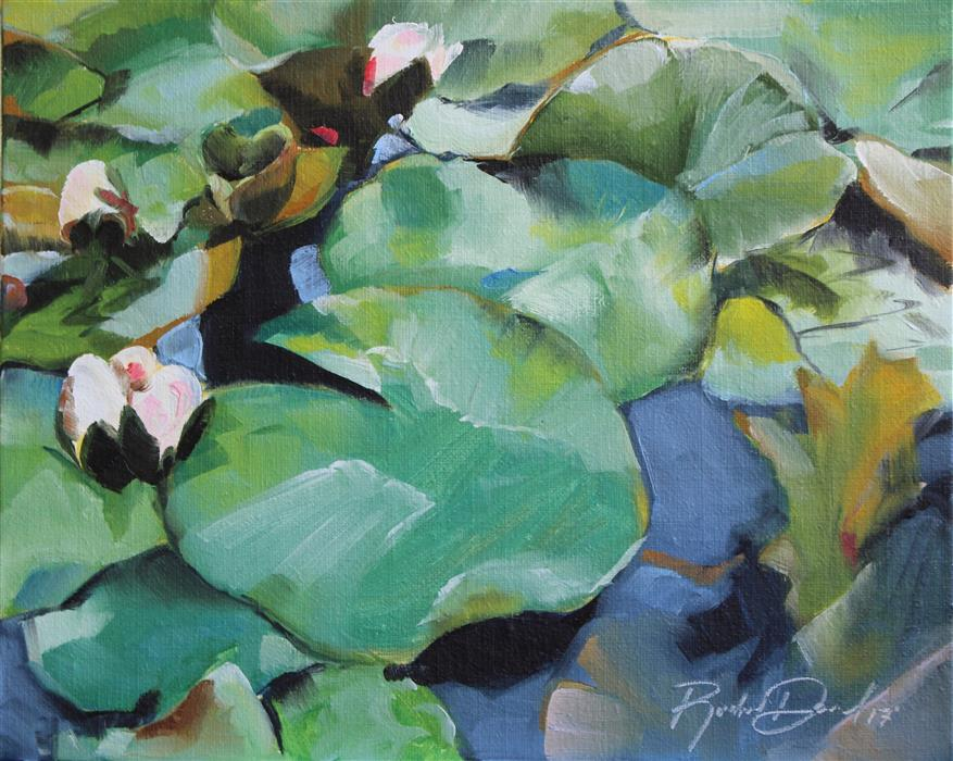 Original art for sale at UGallery.com | Descanso Lily Pads by RACHEL DOWD | $275 | Oil painting | 8' h x 10' w | ..\art\oil-painting-Descanso-Lily-Pads