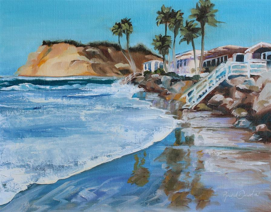 Original art for sale at UGallery.com | Where the Beach Ends by RACHEL DOWD | $350 | Oil painting | 11' h x 14' w | ..\art\oil-painting-Where-the-Beach-Ends