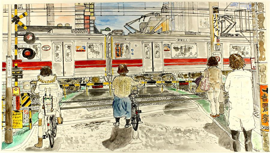 Original art for sale at UGallery.com | Railroad Crossing, Tokyo by ORLANDO MARIN-LOPEZ | $750 | Watercolor painting | 8' h x 14.4' w | ..\art\watercolor-painting-Railroad-Crossing-Tokyo