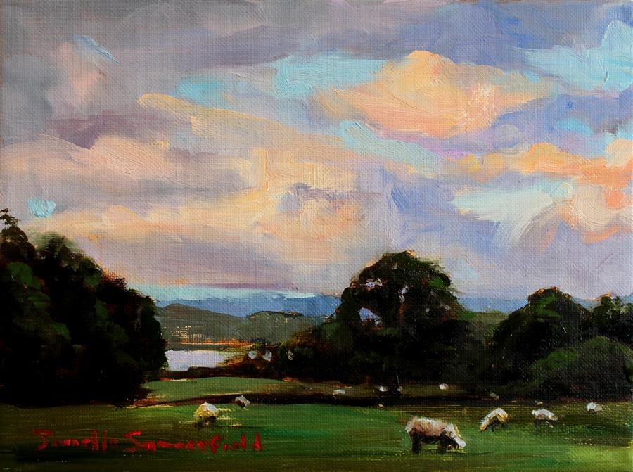 Original art for sale at UGallery.com | Dawn in Ardchattan, Scotland by JONELLE SUMMERFIELD | $325 |  | 6' h x 8' w | ..\art\oil-painting-Dawn-in-Ardchattan-Scotland