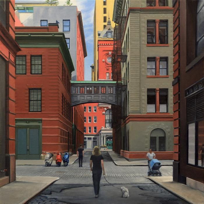 Original art for sale at UGallery.com | Staple Street - Looking North by NICK SAVIDES | $2,850 |  | 24' h x 24' w | ..\art\oil-painting-Staple-Street-Looking-North