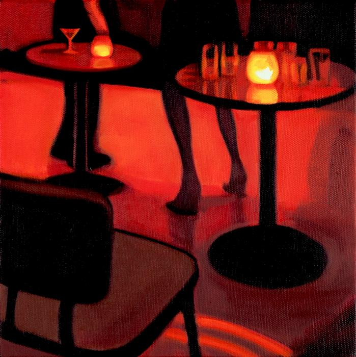 Original art for sale at UGallery.com | Legs at the MakeOut Room by Hadley Northrop | $475 | oil painting | 10' h x 10' w | ..\art\oil-painting-Legs-at-the-MakeOut-Room