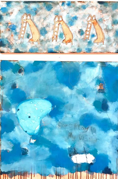 Original art for sale at UGallery.com | Come Play In My Water by LESLIE MORGAN | $1,900 |  | 48' h x 34' w | ..\art\mixed-media-artwork-Come-Play-In-My-Water