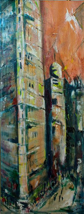 Original art for sale at UGallery.com | Manhattan Flatiron Building II by SHARON SIEBEN | $500 |  | 30' h x 12' w | ..\art\oil-painting-Manhattan-Flatiron-Building-II
