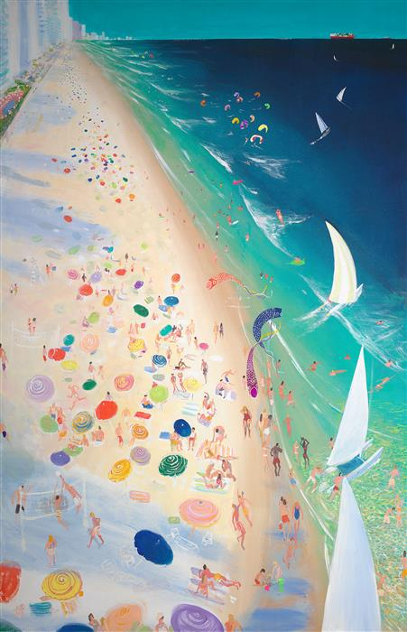 Original art for sale at UGallery.com | Kites & Sails by Joe Davis | $9,200 | acrylic painting | 72' h x 42' w | ..\art\acrylic-painting-Kites-Sails