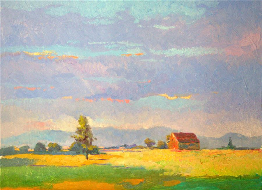 Original art for sale at UGallery.com | Evening on Farm, Oregon by SUREN NERSISYAN | $600 | Oil painting | 18' h x 24' w | ..\art\oil-painting-Evening-on-Farm-Oregon