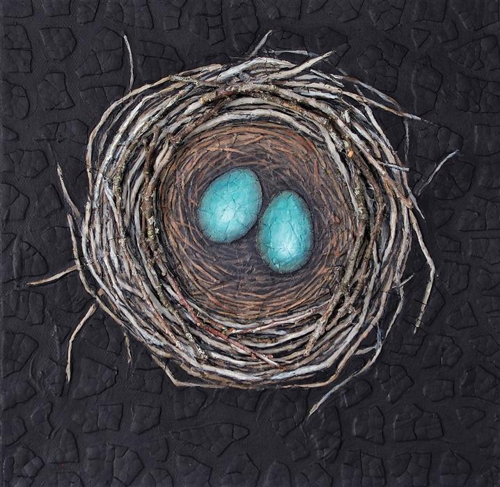Original art for sale at UGallery.com | Nestmaking: Two Eggs by JENNIFER ROSS | $475 |  | 10' h x 10' w | ..\art\mixed-media-artwork-Nestmaking-Two-Eggs