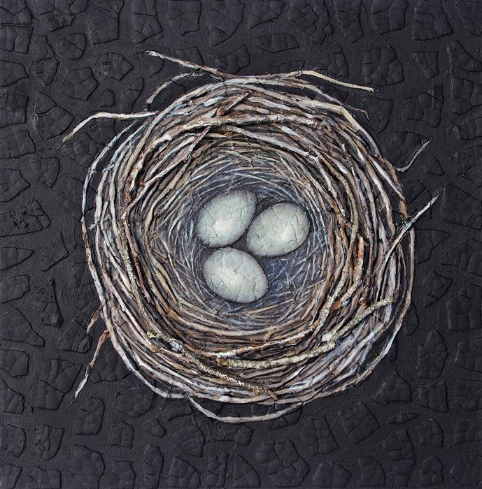 Original art for sale at UGallery.com | Nestmaking: Three Eggs by JENNIFER ROSS | $475 | Mixed media artwork | 10' h x 10' w | ..\art\mixed-media-artwork-Nestmaking-Three-Eggs