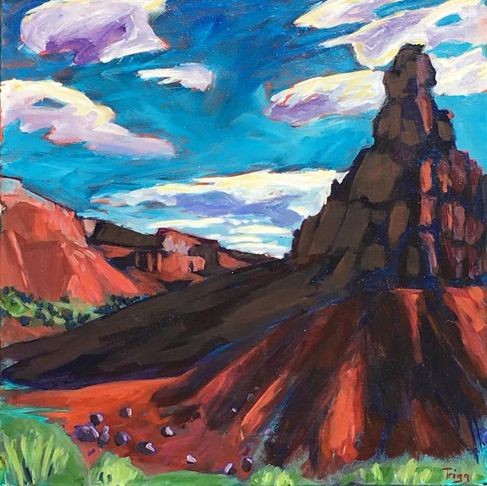 Original art for sale at UGallery.com | Morning at Ghost Ranch Marker by PEGGY TRIGG | $1,050 |  | 20' h x 20' w | ..\art\acrylic-painting-Morning-at-Ghost-Ranch-Marker