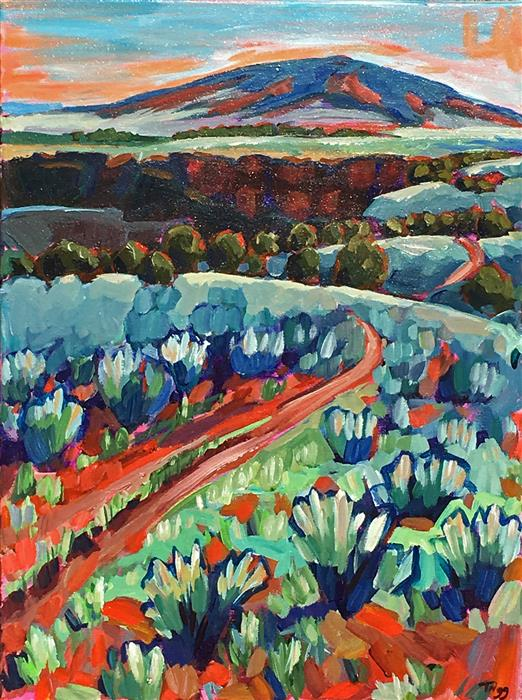 Original art for sale at UGallery.com | Road to Ute Mountain by PEGGY TRIGG | $1,100 |  | 24' h x 18' w | ..\art\acrylic-painting-Road-to-Ute-Mountain