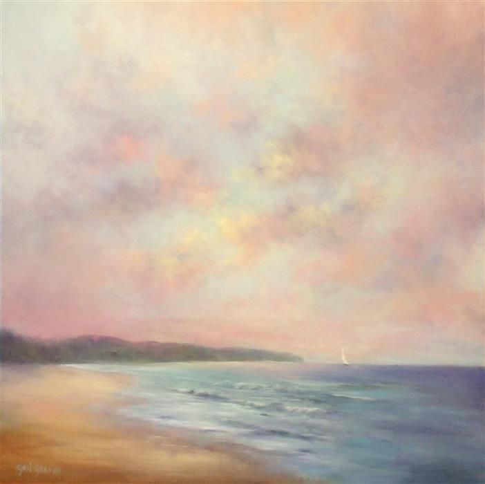 Original art for sale at UGallery.com | Crimson's Edge III: Waves at Daybreak by Gail Greene | $850 | oil painting | 20' h x 20' w | ..\art\oil-painting-Crimson-s-Edge-III-Waves-at-Daybreak