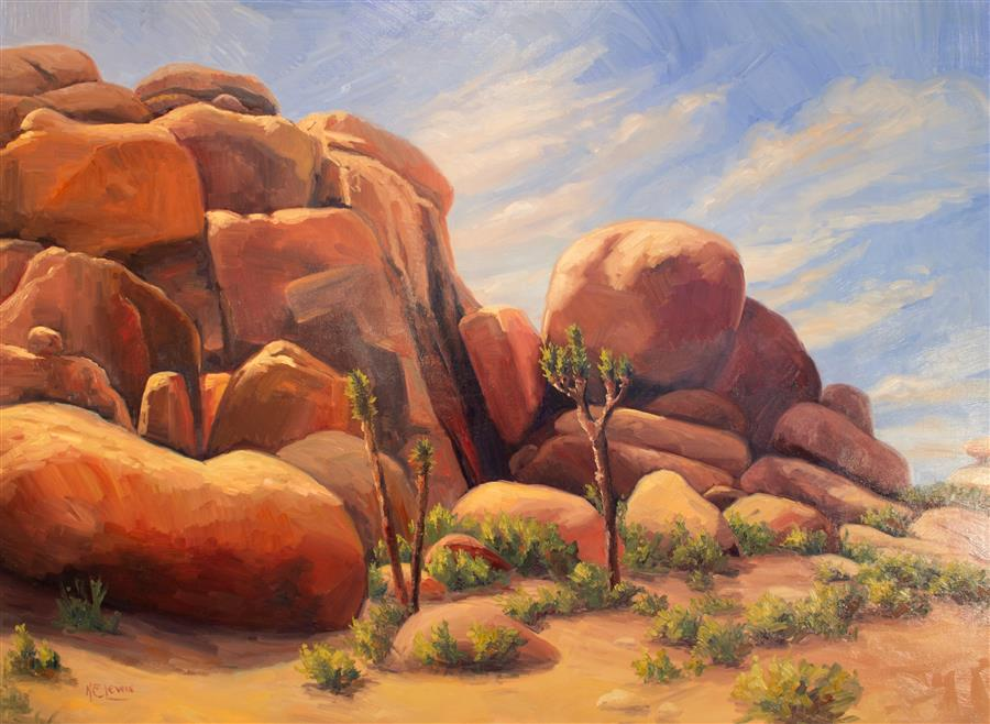 Original art for sale at UGallery.com | Desert Rock and Joshua Tree by KAREN E LEWIS | $2,825 |  | 36' h x 48' w | ..\art\oil-painting-Desert-Rock-and-Joshua-Tree