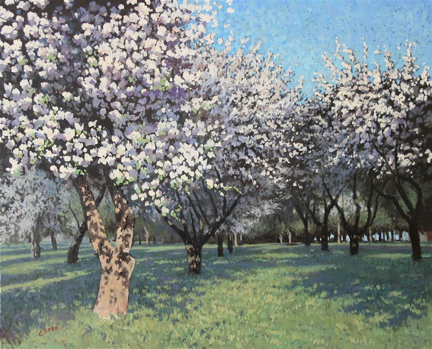 Original art for sale at UGallery.com | Orchard in Spring by STEFAN CONKA | $2,200 |  | 25.5' h x 31.4' w | ..\art\oil-painting-Orchard-in-Spring