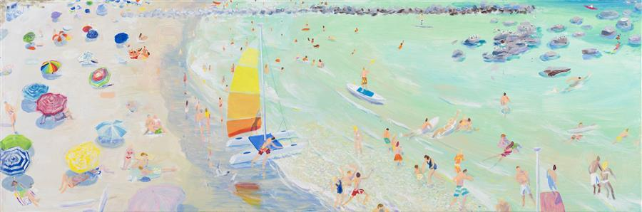 Original art for sale at UGallery.com | Bayside by Joe Davis | $5,000 | acrylic painting | 20' h x 60' w | ..\art\acrylic-painting-Bayside