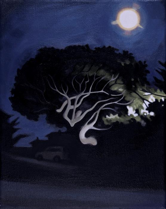 Original art for sale at UGallery.com | Moon Tree by HADLEY NORTHROP | $425 | Oil painting | 10' h x 8' w | ..\art\oil-painting-Moon-Tree