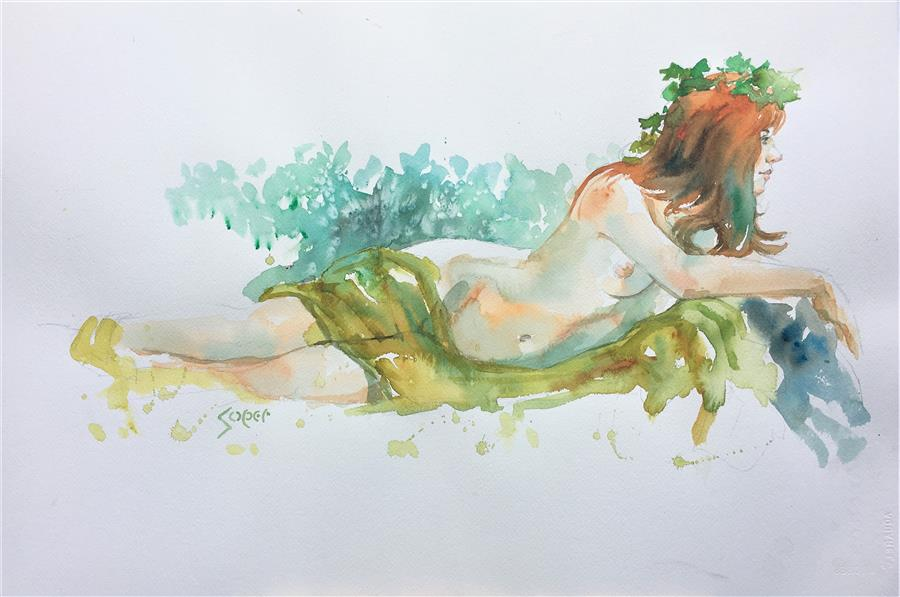 Original art for sale at UGallery.com | Lazy Days by PATRICK SOPER | $875 |  | 15' h x 22' w | ..\art\watercolor-painting-Lazy-Days