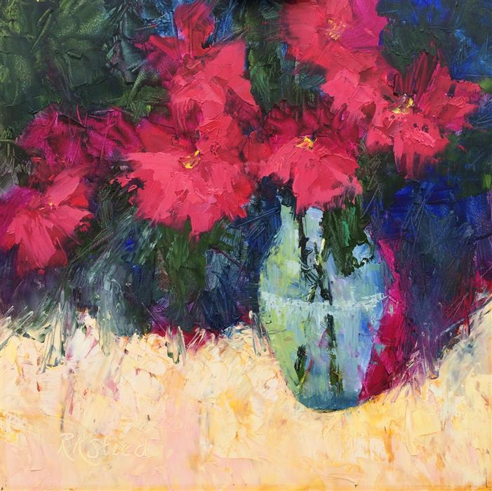 Original art for sale at UGallery.com | Zinnia Pop by ROXANNE STEED | $575 |  | 12' h x 12' w | ..\art\oil-painting-Zinnia-Pop