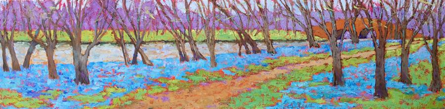 Original art for sale at UGallery.com | Blue Bell River Run by ROXANNE STEED | $1,300 |  | 12' h x 48' w | ..\art\oil-painting-Blue-Bell-River-Run
