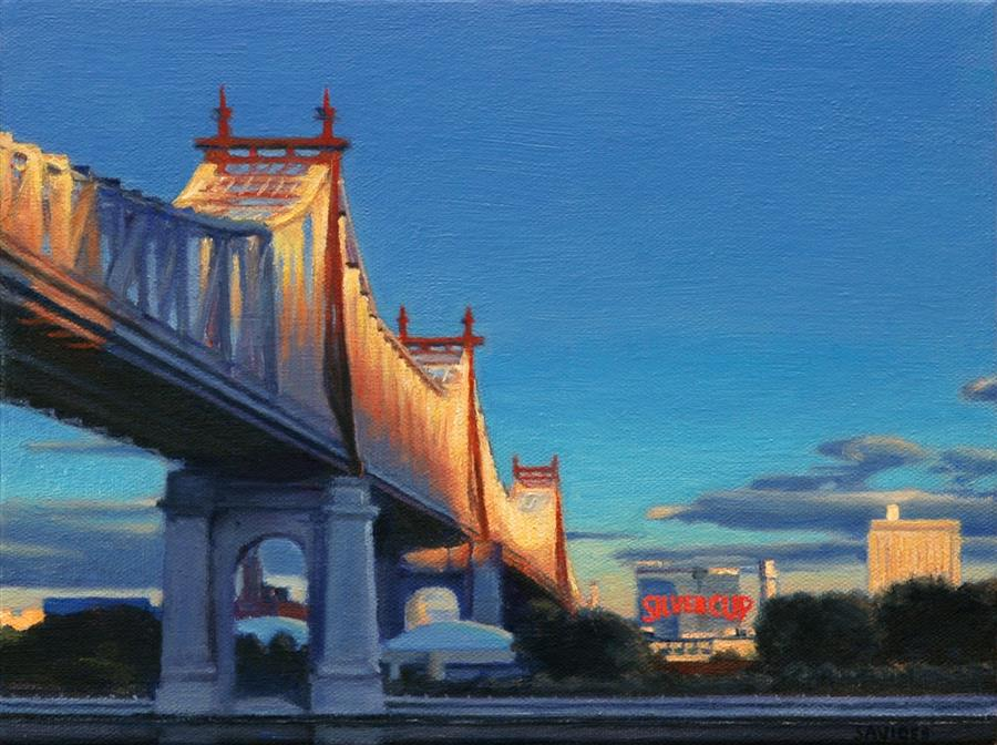 Original art for sale at UGallery.com | 59th Street Bridge at Sunset by NICK SAVIDES | $875 |  | 9' h x 12' w | ..\art\oil-painting-59th-Street-Bridge-at-Sunset