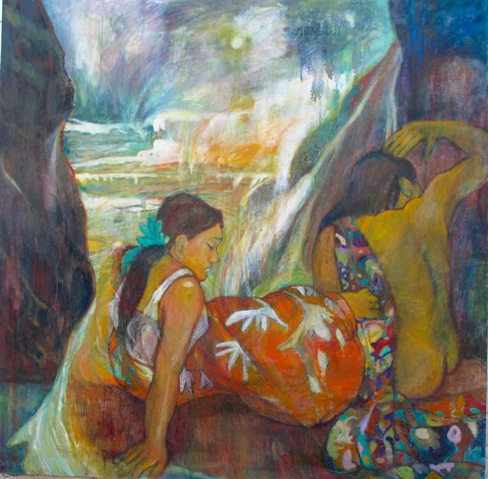 Original art for sale at UGallery.com | Gauguin's Women in Cayucos by DIXIE SALAZAR | $2,875 |  | 44' h x 44' w | ..\art\oil-painting-Gauguin-s-Women-in-Cayucos