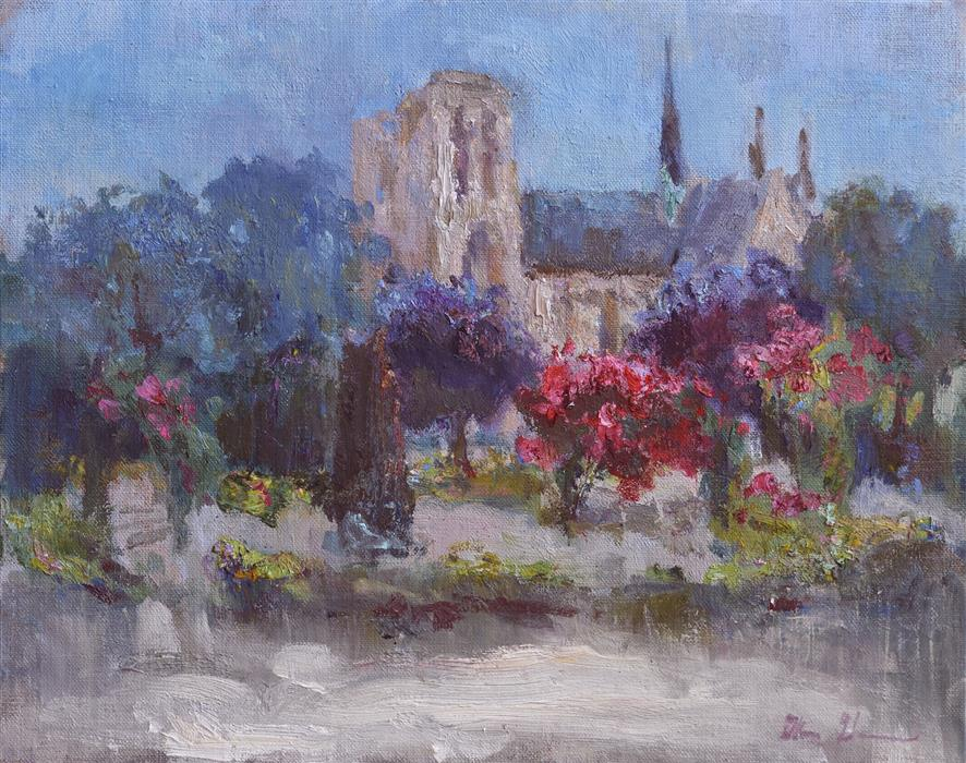 Original art for sale at UGallery.com | Paris Rose Garden by OKSANA JOHNSON | $625 | Oil painting | 11' h x 14' w | ..\art\oil-painting-Paris-Rose-Garden