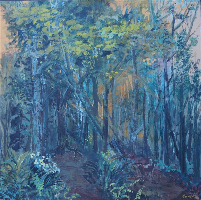 Original art for sale at UGallery.com | Into the Woods by SIDONIE CARON | $2,050 |  | 24' h x 24' w | ..\art\acrylic-painting-Into-the-Woods-54596