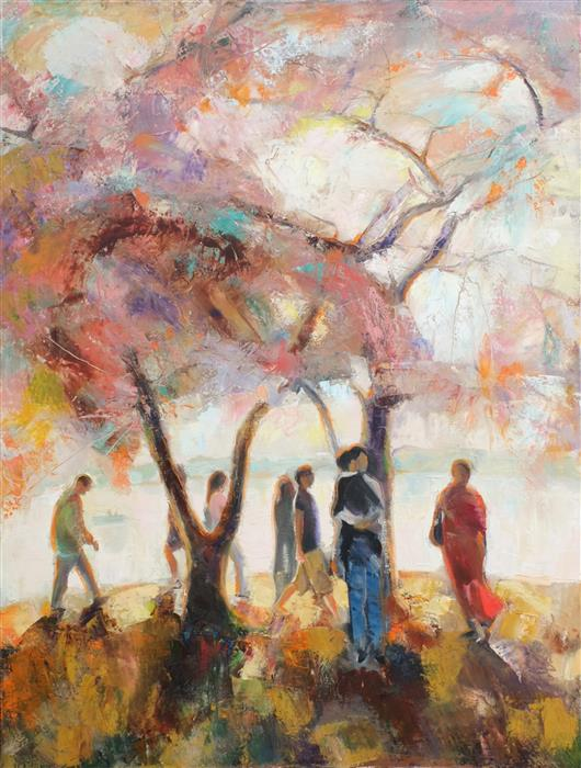 Original art for sale at UGallery.com | The Time of the Cherry Blossom by DINA VOLKOVA | $2,500 |  | 40' h x 30' w | ..\art\oil-painting-The-Time-of-the-Cherry-Blossom
