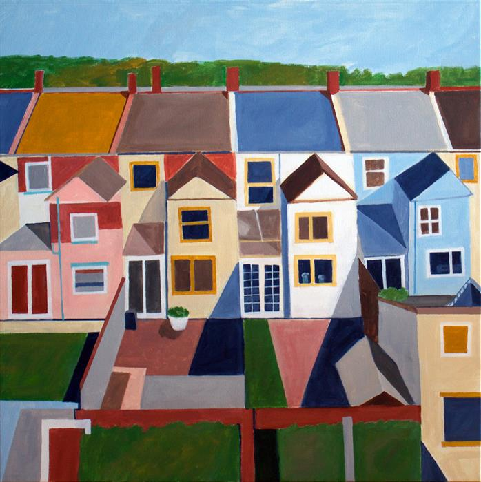 Original art for sale at UGallery.com | Hampstead Backyard by TONI SILBER-DELERIVE | $3,600 |  | 30' h x 30' w | ..\art\acrylic-painting-Hampstead-Backyard