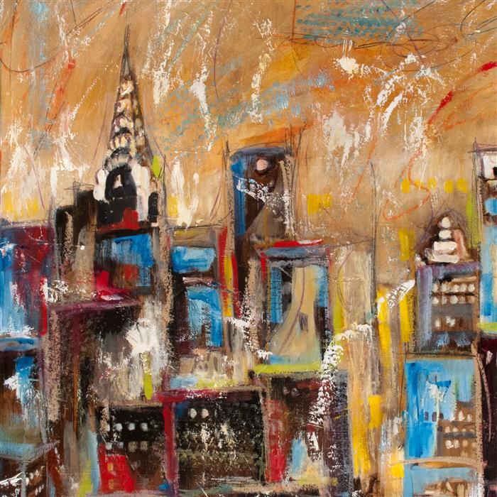 Original art for sale at UGallery.com | Manhattan Towers by SHARON SIEBEN | $625 |  | 16' h x 16' w | ..\art\mixed-media-artwork-Manhattan-Towers