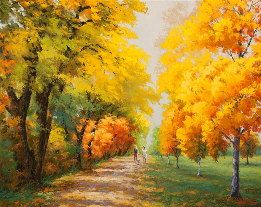Original art for sale at UGallery.com | Marigold  Autumn by STANISLAV SIDOROV | $1,775 |  | 24' h x 30' w | ..\art\oil-painting-Marigold-Autumn