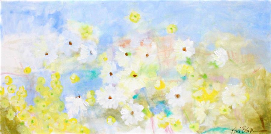 Original art for sale at UGallery.com | Daisies and Buttercups by KERRI  BLACKMAN | $775 |  | 18' h x 36' w | ..\art\acrylic-painting-Daisies-and-Buttercups