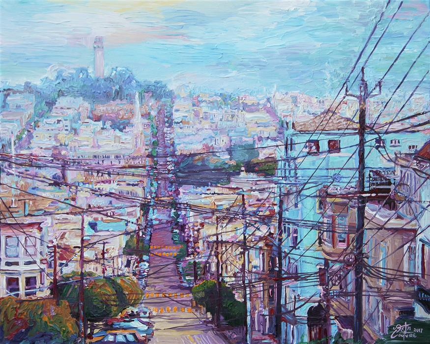 Original art for sale at UGallery.com | Web of Wires, Leavenworth and Filbert, San Francisco by SETH COUTURE | $725 | Acrylic painting | 16' h x 20' w | ..\art\acrylic-painting-Web-of-Wires-Leavenworth-and-Filbert-San-Francisco