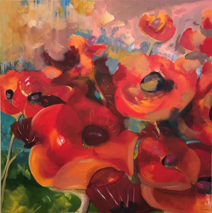 Original art for sale at UGallery.com | Poppies in the Wind by PATRICIA FABIAN | $4,575 | Oil painting | 48' h x 48' w | ..\art\oil-painting-Poppies-in-the-Wind