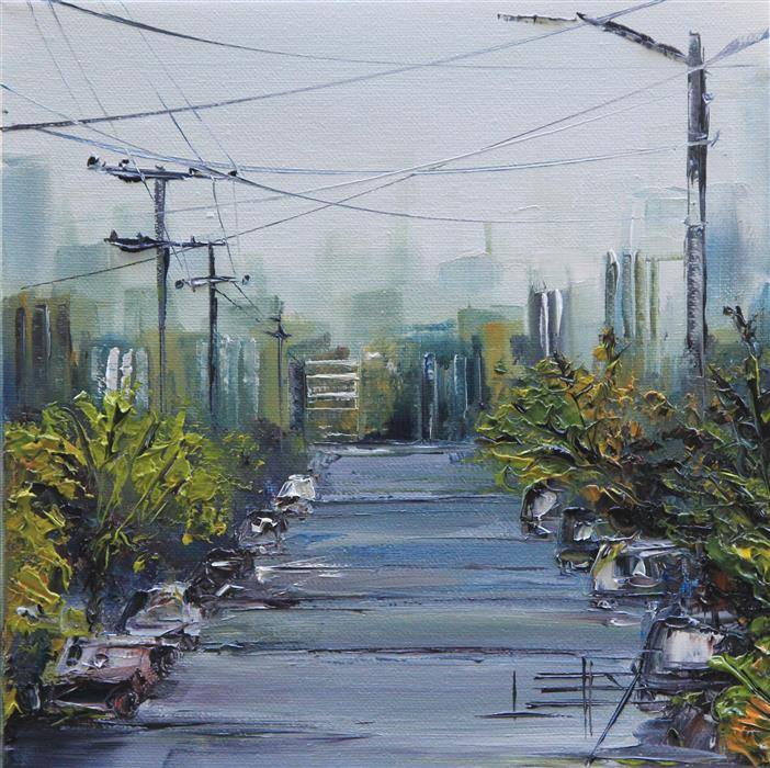 Original art for sale at UGallery.com | San Francisco Skyline by LISA ELLEY | $325 |  | 10' h x 10' w | ..\art\oil-painting-San-Francisco-Skyline-54655