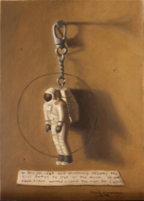 Original art for sale at UGallery.com | The Astronaut by JOSE H. ALVARENGA | $450 |  | 7' h x 5' w | ..\art\oil-painting-The-Astronaut