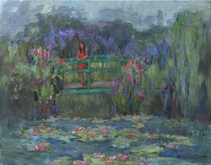 Original art for sale at UGallery.com | A Day in Giverny by OKSANA JOHNSON | $1,775 |  | 22' h x 28' w | ..\art\oil-painting-A-Day-in-Giverny