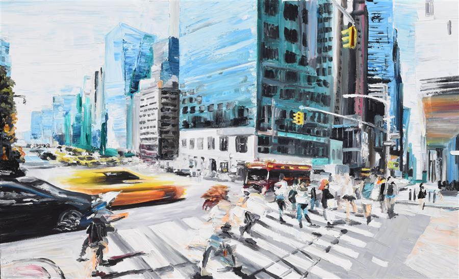 Original art for sale at UGallery.com | Walking in the Streets by PIERO MANRIQUE | $2,475 | Oil painting | 30' h x 48' w | ..\art\oil-painting-Walking-in-the-Streets