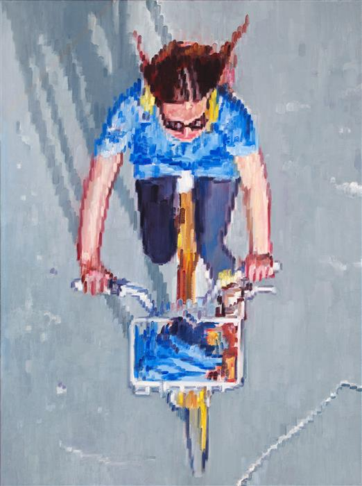 Original art for sale at UGallery.com | Bicycling on a Summer's Day by Warren Keating | $4,600 | oil painting | 48' h x 36' w | ..\art\oil-painting-Bicycling-on-a-Summer-s-Day