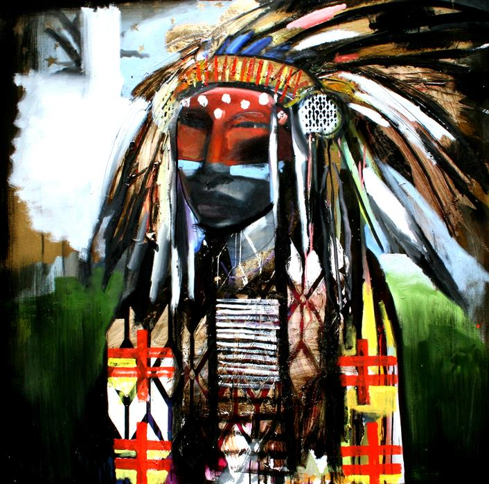 Original art for sale at UGallery.com | A Chief in Painted Jacket and Painted Face by SCOTT DYKEMA | $6,375 | Mixed media artwork | 48' h x 48' w | ..\art\mixed-media-artwork-A-Chief-in-Painted-Jacket-and-Painted-Face