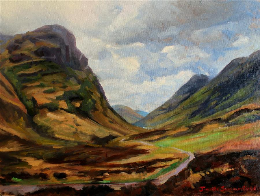 Original art for sale at UGallery.com | The Road through Glencoe by JONELLE SUMMERFIELD | $925 | Oil painting | 18' h x 24' w | ..\art\oil-painting-The-Road-through-Glencoe