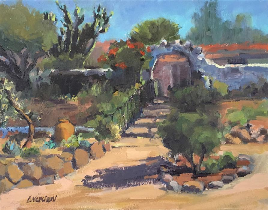 Original art for sale at UGallery.com | Ranchero's Garden by Claudia Verciani | $775 | oil painting | 11' h x 14' w | ..\art\oil-painting-Ranchero-s-Garden