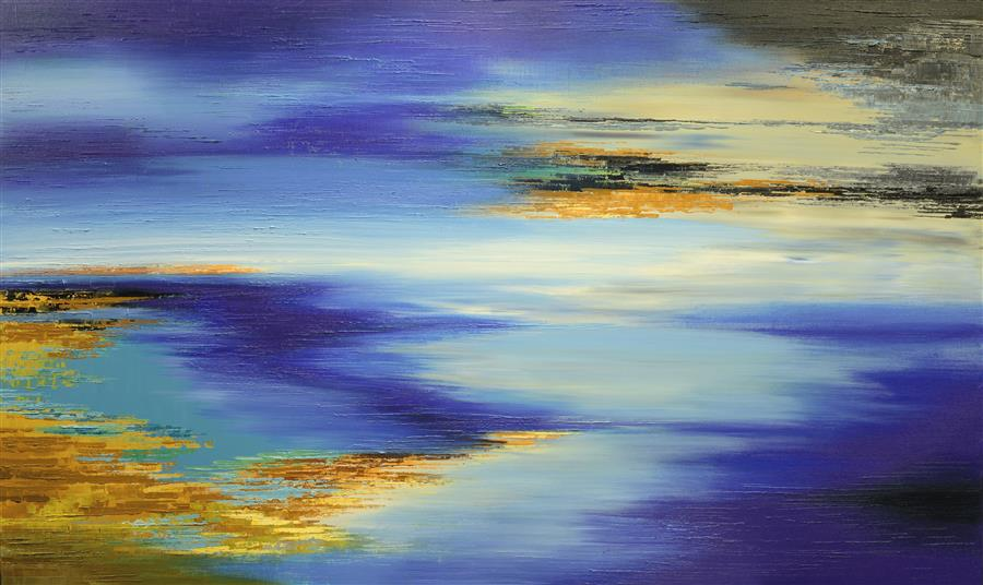 Original art for sale at UGallery.com | Marshes of Kepler-452b by TATIANA ILIINA | $3,800 |  | 36' h x 60' w | ..\art\acrylic-painting-Marshes-of-Kepler-452b